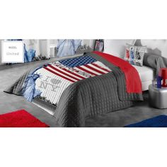 Sivé poťahy na dvojposteľ s motívom New York - domtextilu. Comforters, Blanket, Furniture, New York, Design, Home Decor, Creature Comforts, Quilts, New York City