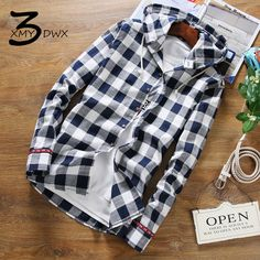 XMU3DWX size S-5XL New product fashion male high-grade linen fabrics grid long sleeve shirt/Men's slim fit hooded casual shirt #Affiliate