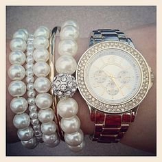 Gold, Crystals, & Pearls ♥
