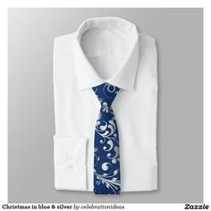 #christmas #xmas #elegant #modern #blue #silver #swirls #ties #menswear in lots of different products & designs. Check more at www.zazzle.com/celebrationideas
