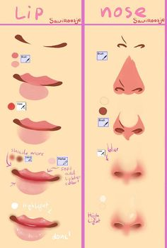34 Best Ideas Drawing Anime Nose Step By Step Drawing Body Poses, Nose Drawing, Drawing Tips, Drawing Techniques, Drawing Ideas, Drawing Faces, Digital Painting Tutorials, Digital Art Tutorial, Art Tutorials