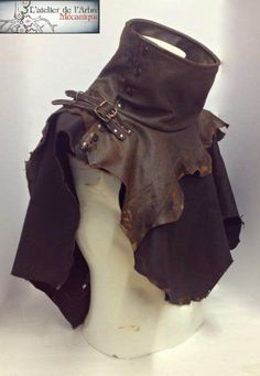 Jyst because it's tough. Ks wasteland high collar capelet by ArbreMecanique on Etsy Larp, Moda Steampunk, Steampunk Fashion, Costume Viking, Dystopia Rising, Mode Costume, Wide Brimmed Hats, Leather Armor, Fantasy Costumes