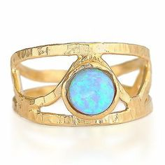 Gold Filled 14k Ring Opalite stone Designer Warrenty Sizeable Lady Blue (7.25)