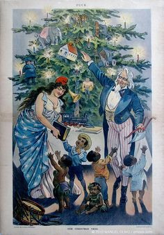"""Illustration in PUCK Magazine, """"Our Christmas Tree"""", picturing Uncle Sam and Columbia. America's Gilded Age - December 27th, c.1899. American illustrator, Keppler. ~ {cwl} ~ (Image: LOC)"""