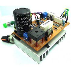 Fonte Ajustável 0V á 50V por 5 Amperes montada e pronto para uso. Electronics Components, Diy Electronics, Electronics Projects, Electronic Schematics, Electronic Kits, Arduino Bluetooth, Tattoo Power Supply, Printed Circuit Board, Tecnologia