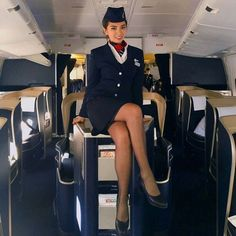 Image may contain: 1 person, sitting Pantyhose Outfits, Pantyhose Legs, Nylons, British Airways Cabin Crew, Beautiful Christina, Airline Uniforms, Female Pilot, Intelligent Women, Flight Attendant