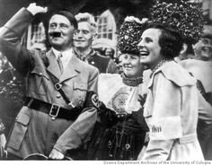 """Lengendary filmmaker Leni Riefenstahl, far right, with Hitler while shooting """"Olympia"""" at the 1936 Berlin Summer Olympics."""