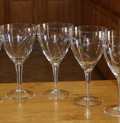 Vintage, Set of 6, Atomic Water Goblets, Etched Dot and Line Pattern, Wine Glasses