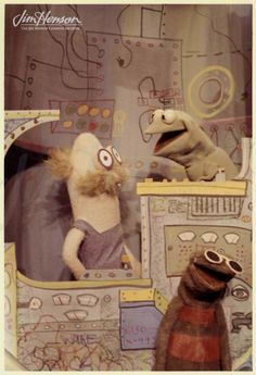 Kermit and Harry the Hipster with Professor Madcliff (on left) from Sam and Friends, 1955-1961.