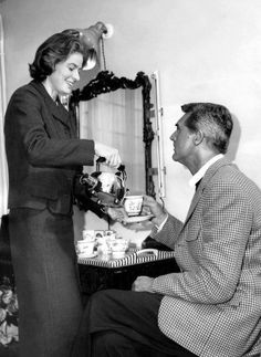 Ingrid Bergman and Cary Grant relaxing on the set of Indiscreet