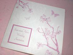 Glitter cherry blossom wedding invite