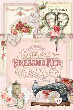The April kit for the Handmade Club - The Vintage Dressmaker - Shabby Art Boutique Decoupage Vintage, Vintage Crafts, Vintage Paper, Vintage Sewing, Vintage Decor, Foto Transfer, Button Cards, Sewing Art, Pattern Sewing