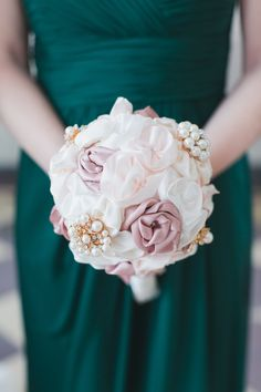 Silk rose bouquet, blush and pastel pink, dusty pink, pearl brooches, alternative bouquet ideas, bridesmaid // Limelight Entertainment