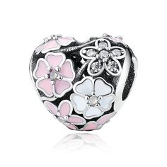 Heart Beads Pink&White Enamel Bouquet Charm 925 Sterling Silver With Clear CZ Fit pandora Bracelets For Woman DIY Jewelry #Affiliate