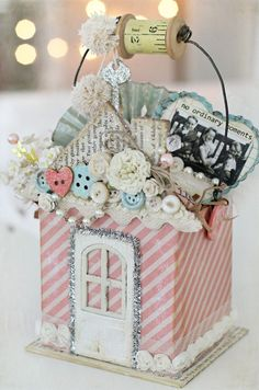 "Maya Road chipboard ""Home Sweet Home"" album piece with loads of other MR products and  Pink Paislee ""Cottage Farms"" paper."
