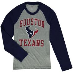 4714be067 Houston Texans Youth Fan Gear Constant Raglan Long Sleeve T-Shirt -  Heathered Gray Navy