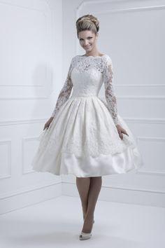 Ellis lace sleeve tea length dress