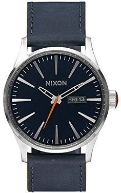 Blue/Orange The Sentry Leather Watch by Nixon -- Learn more by visiting the image link.