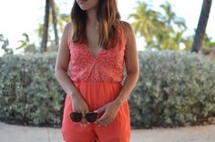 Coral Romper Tropical Beach Vacation Outfit