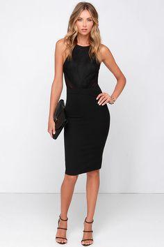 Love Mesh-age Black Lace Midi Dress at Lulus.com! (For Kelli's wedding reception)