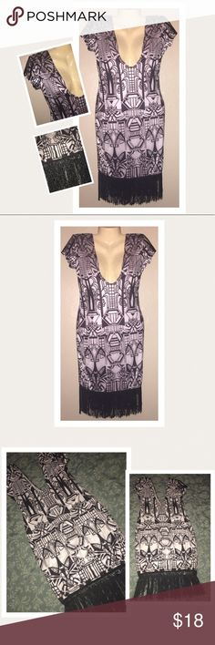🎊WEEKEND SALE🎊Sexy Aztec Fringe Dress 👗 Got this from another website but never wore. No tags. Deep cut front and back. Fringe bottom. Size large but will also fit a medium. Please see measurements. Dresses