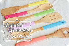 painted bamboo utensils
