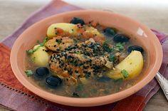 Marokkanisches Zitronenhuhn mit Salzzitronen, Kartoffeln, Oliven, Safran, Schwarzkümmel, Kräutern...