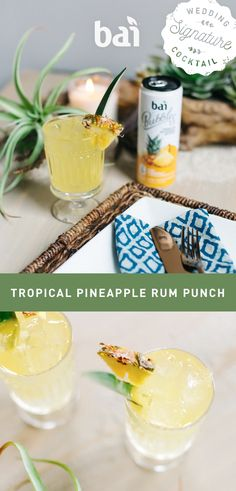 "Need a beach worthy signature cocktail mixed with 5 calories of flavor and only 1 gram of sugar? This Pineapple Rum Punch is the perfect sip for saying ""I do"" in the sand."