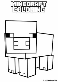 Printable Minecraft coloring - Pig