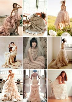 Pastel hued, ruffled wedding dress inspiration board -- I LOVE the pics of these girls in these dresses. Delicious.