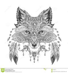 tatua-portret-dziki-lis-53388411.jpg (1300×1390)