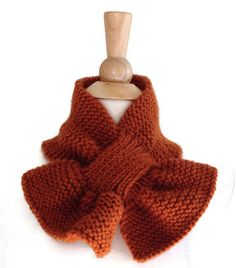Keyhole scarf  knit scarf rust brown warm winter by spinningsheep, $35.00