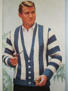 Knit Men's Cardigan Sweater Pattern - 1950's Vintage Pattern, Men's Cardigan KIY2. $3.00, via Etsy.