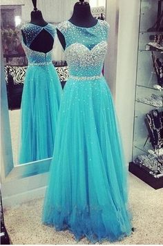 New Arrival Sweet Beading Tulle Floor Length Prom Ball Gowns Formal Evening Dresses(ED0770)