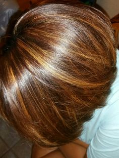 Brownish red with caramel highlights