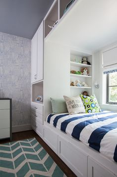 "Interior Design Ideas - ""Built-in Bed with Wardrobe"" (Wallpaper: Globetrotter Blue)"