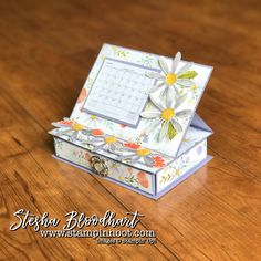 3-D Thursday brings a Daisy Delight Desktop Calendar with Drawer! See details and daily inspiration on my blog, Stampin' Hoot! Stesha Bloodhart!