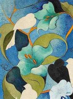 stilllifequickheart:  Helen Torr Doves Amongst Flowers 1930-39 (about)