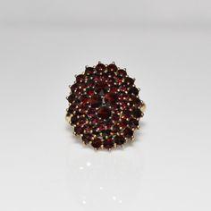 Vintage Tiered Bohemian Garnet Vermeil Silver Ring, Size 7 from jenandivintagejewels on Ruby Lane