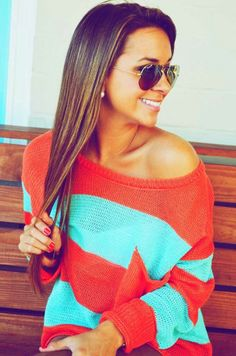 Stylish Two Tone Striped Sweater With Shades