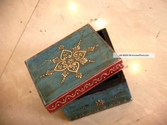 Blue Colorful Chest Embossed 4 Sections Wooden Painted Jewelry Cum ...
