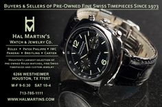 Hal Martin has been in business since 1973.  We buy and sell Rolex watches, luxury watches, pre-owned Rolex watches, Breitling, Cartier, Hublot, Patek Philippe, Omega, Panerai to chronograph watches.