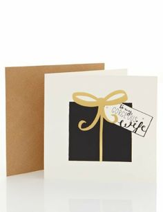 Wife Black & Gold Gift Christmas Card - Marks & Spencer