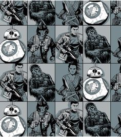Star Wars VII Villains In Squares Flannel Fabric | Online Only Product