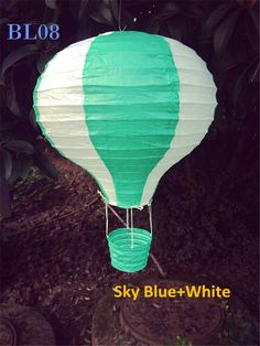 8pcs/lot 30cm (12inch) Sky Blue Hot Air Balloon Lantern Paper Hanging Birthday Baby Bridal Shower Party Home Decorations