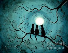 Halloween Painting - Three Black Cats Under A Full Moon Silhouette by Laura Iverson Canvas Art, Canvas Prints, Art Prints, Black Cat Art, Black Cats, Black Cat Drawing, Black Cat Images, Black Cat Painting, White Kittens