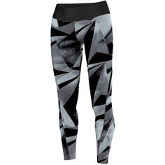 Adidas Training Allover Graphic Long Tights, Black/White ❤ liked on Polyvore featuring adidas