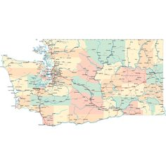 Scalable online Washington state road map and regional printable road maps of Washington. Highway Map, Washington Map, Road Maps, State Map, Cub Scouts, Bucket, Art, Art Background, Buckets