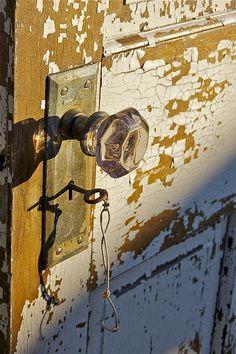 Chippy door - old door-glass knob