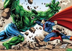 Hulk vs Superman - two of the most powerful beings in Marvel Comics and Detective Comics. Who wins a Superman vs Hulk bout between these two? Hulk Marvel, Marvel Dc Comics, Hulk Vs Superman, Hulk Comic, Anime Comics, Superman Stuff, Superman Family, Batman Vs, Marvel Heroes
